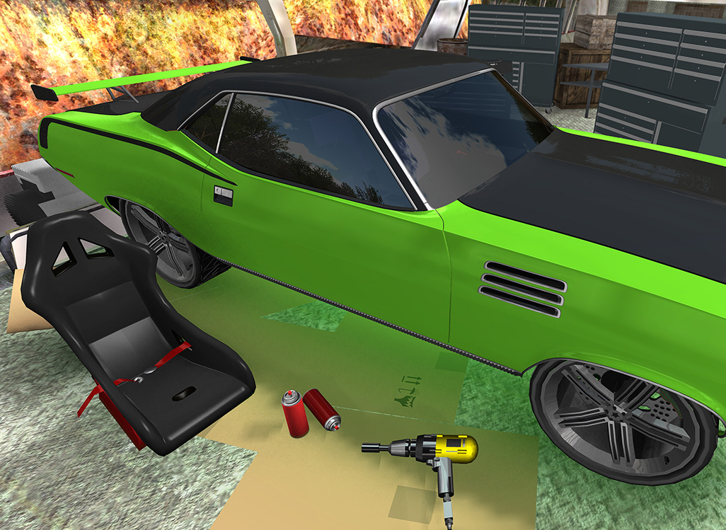 Save your junkyard by fixing and upgrading a classic muscle car of beauty!